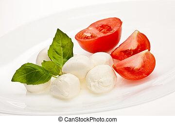food series: mozzarella, tomato and basil over white