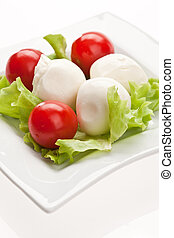 mozzarella - food series: mozzarella, tomato and lettuce ...