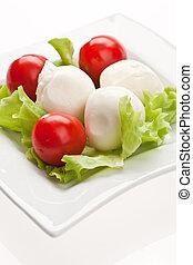 food series: mozzarella, tomato and lettuce over white