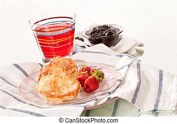 pancake - food series: sweet thick pancake and strawberry