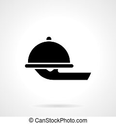 Food serving tray glyph style vector icon