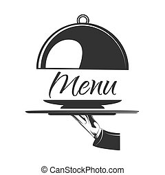Food serving tray. Silver tray in hand waiter. Vector illustration. Menu label