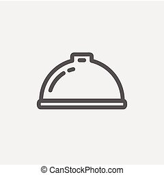 Food serving tray thin line icon