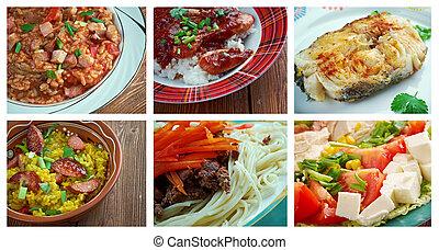 Food set American cuisine. collage