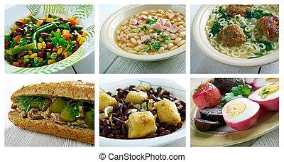 set American cuisine - Food set American cuisine. collage