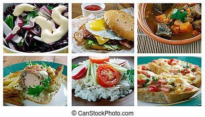 set American cuisine. - Food set American cuisine. collage