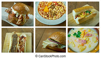 Food set American cuisine.collage