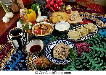 food set Central Asian cuisine - plov, lagman, sherbet ,...