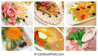 Food set of different Aspic from meat