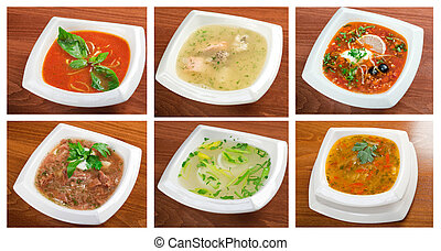 Food set of different delicious and healthy soups - Food set...