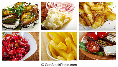 Food set of different noodle . collage