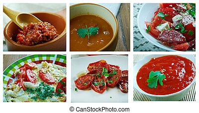 Food set of different tomato .