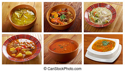 Food set of different traditional soups.