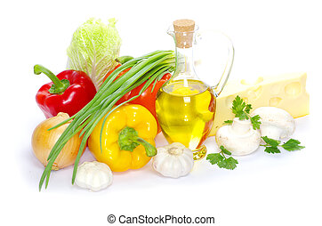 food - set of ingredients and spice isolated on white ...