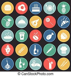 Food set on color circles flat