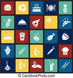 Food set on color squares background