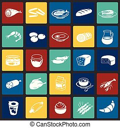 Food set on color squares background