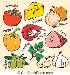 Food set vector - Food set pizza ingredients on a beige...