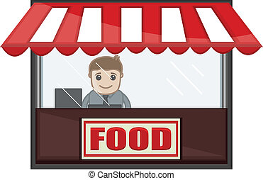 Food Shop - Cartoon Business Vector - Drawing Art of Cartoon...