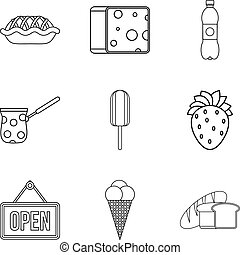 Food shop icon set, outline style