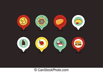 food shop map pointers flat vector style icon set