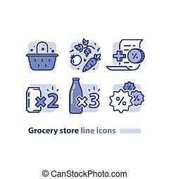 Food shopping, grocery basket, fresh vegetables line icon, reward loyalty program, discount beverage, soda cans offer