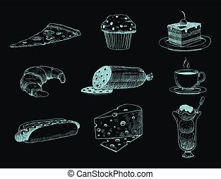 Food sketch vector natural menu restaurant fresh hand drawn product and kitchen doodle meal cooking cuisine sketchy organic illustration.