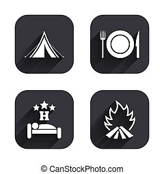Food, sleep, camping tent and fire signs. - Food, sleep,...