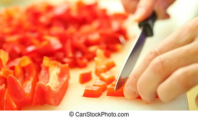food. slicing red sweet bell pepper