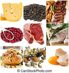 Food sources of protein, including cheese, lentils, red and white meat, kidney beans, fish, tuna, nuts and eggs.