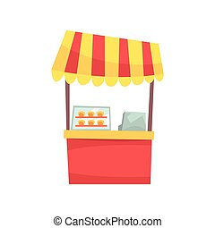 Food stall with cupcakes and sweets, fixed market stall for external usage cartoon vector Illustration