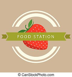 Food Station Ribbon Strawberry Circle Frame Background Vector Image