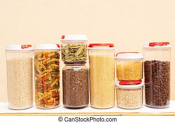 Food storage - raw food ingredients inside transparent jars