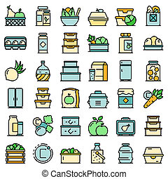 Food storage icons set. Outline set of food storage icons thin line color flat on white
