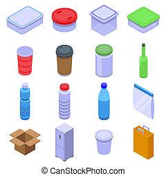 Food storage icons set. Isometric set of food storage icons for web design isolated on white background
