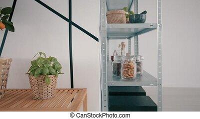 Food storage idea - shelf and fruit close up