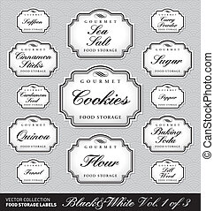 set (1 of 3) of ornate vector labels for food storage jars/containers of different sizes; scalable and editable vector illustrations; 2 more sets with the same design in my portfolio;