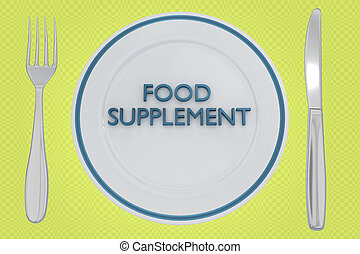 FOOD SUPPLEMENT concept - 3D illustration of FOOD SUPPLEMENT...