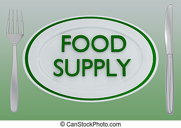 FOOD SUPPLY concept - 3D illustration of FOOD SUPPLY title ...