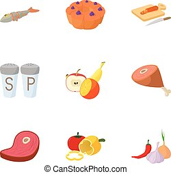 Food supply icons set, cartoon style