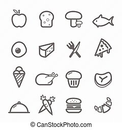 Food symbol line icon on white background vector...