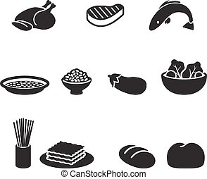 Food symbols - Several food simple pictogram in black color