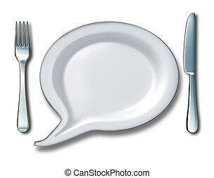 Food Talk - Food talk concept with a word bubble or talk...