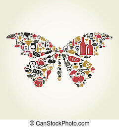 The butterfly made of food. A vector illustration