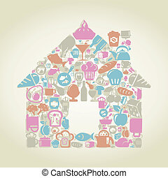 Food the house - The house made of food. A vector...
