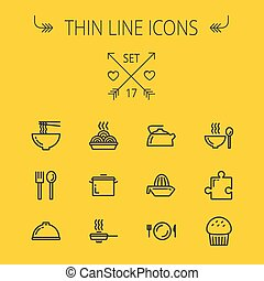 Food thin line icon set