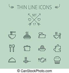 Food thin line icon set