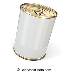 Food tin can on white isolated background. 3d