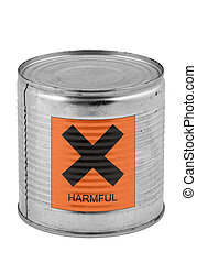 food tin can with harmful sign