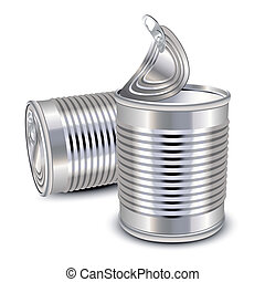 Opened and closed food tin cans